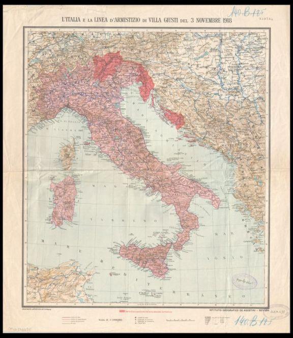 L'*Italia e la linea d'armistizio di Villa Giusti del 3 novembre 1918  / Istituto geografico De Agostini