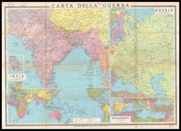 Carta della guerra  : carta politica dimostrativa a otto colori  : Russia, India, Mediterraneo, Planisfero  / Giovanni Or. Dossena capo cartografo dir