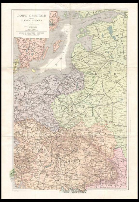 Campo orientale della guerra europea  : confini germanico russo, austro-russo, austro-serbo