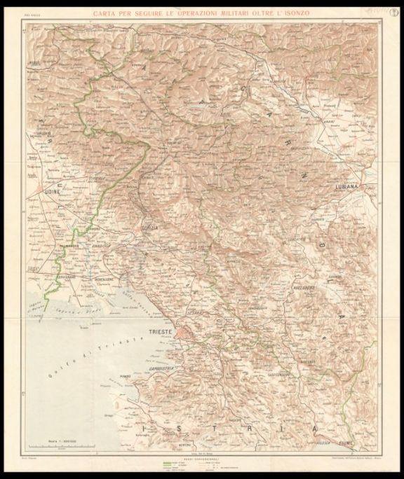 Carta per seguire le operazioni militari oltre l'Isonzo