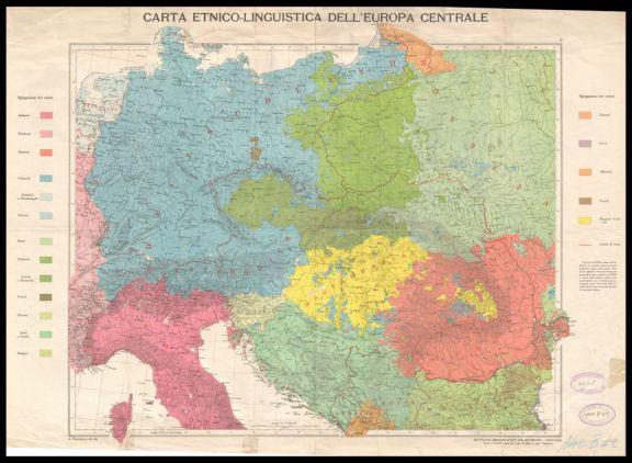 Carta etnico-linguistica dell'Europa centrale  / A. Dardano red. e dis