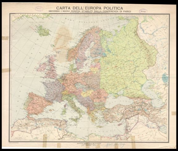 Carta dell'Europa politica  : secondo i nuovi confini stabiliti dalla Conferenza di Parigi e ultime convenzioni internazionali