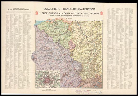 Lo *scacchiere franco-belga-tedesco  : 1. supplemento alla carta del Teatro della guerra europea  / A. Dardano red