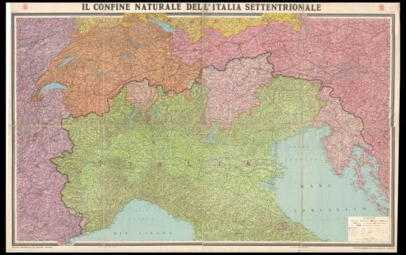 Il *confine naturale dell'Italia settentrionale  : grande carta corografica a colori in due fogli