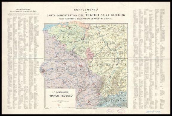 Lo *scacchiere franco-tedesco  : supplemento alla carta dimostrativa del Teatro della guerra  / A. Dardano red