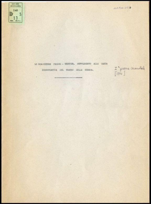 Lo *scacchiere franco-tedesco  : supplemento alla carta dimostrativa del Teatro della guerra pubblicata dall'Istituto Geografico de Agostini