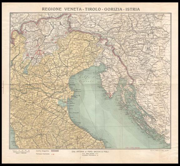 Carta geografica Grande Guerra Tirolo Veneto Istria