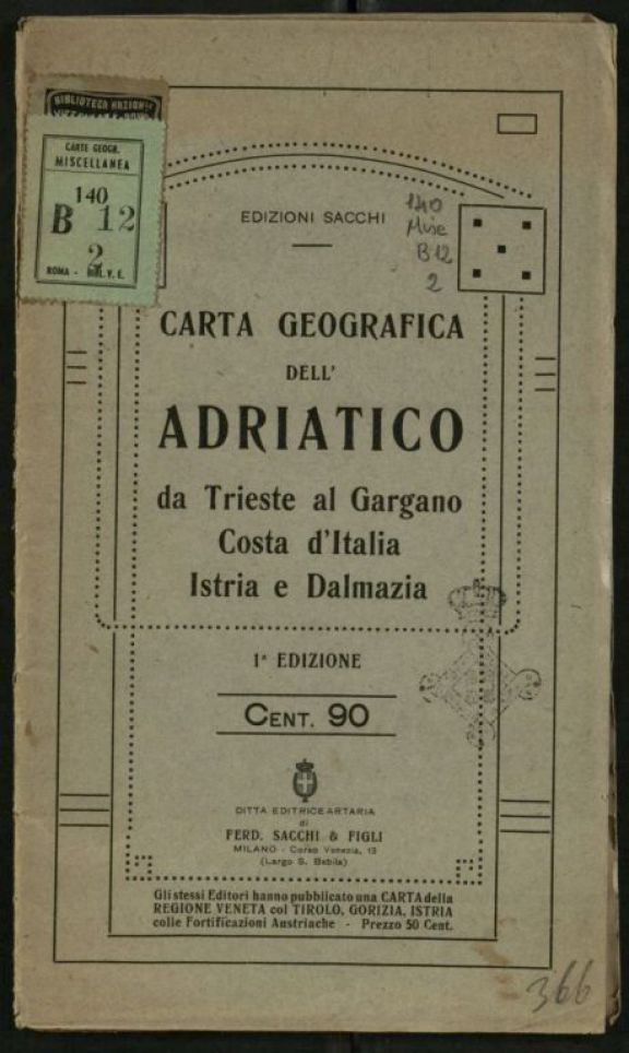 Carta geografica dell'Adriatico da Trieste al Gargano, Costa d'Italia, Istria e Dalmazia