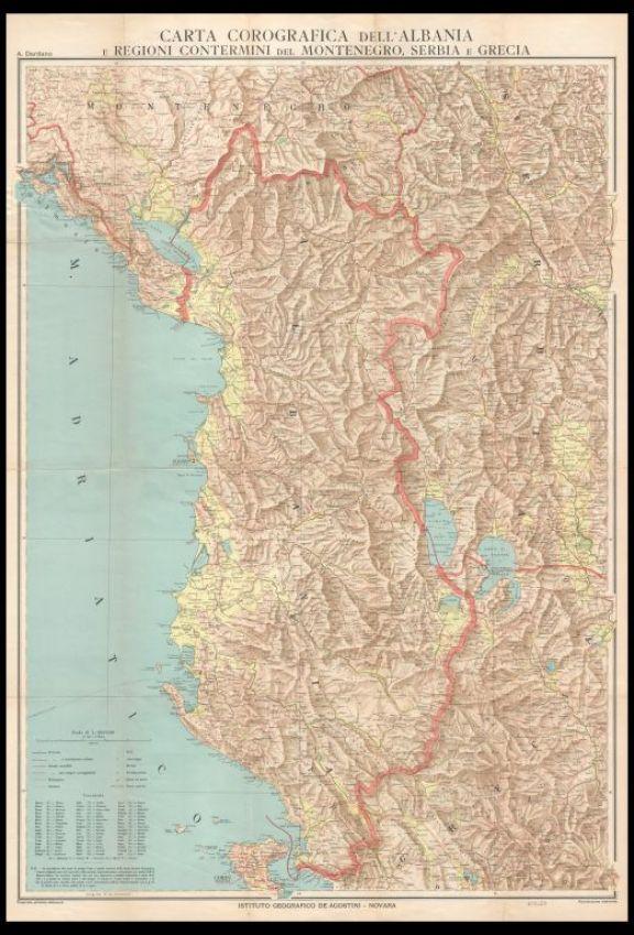 Carta corografica dell'Albania e regioni contermini  : Montenegro, Serbia, Grecia
