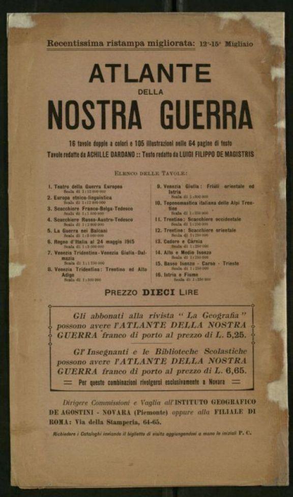 Carta del teatro della guerra nostra  : carta a tinte isoipsografiche