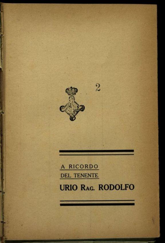 A ricordo del tenente Urio rag. Rodolfo