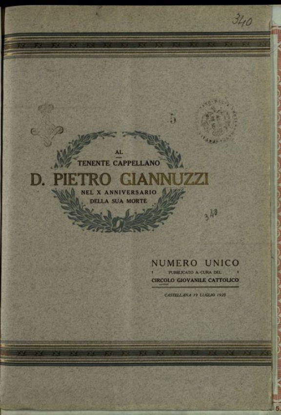 Al Tenente cappellano d. Pietro Giannuzzi, nel 10. anniversario della sua morte
