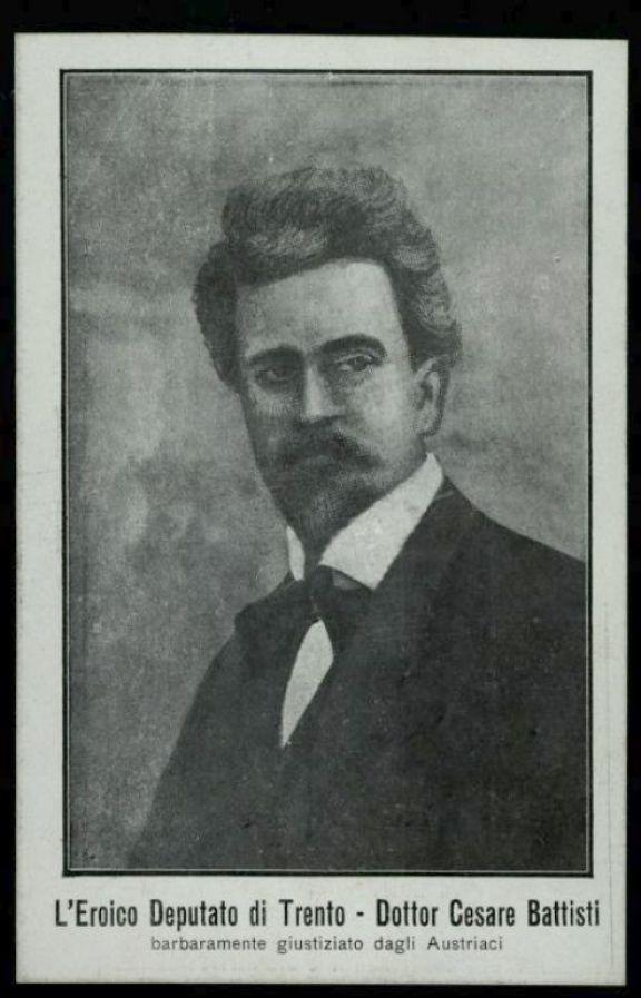 L'*eroico deputato di Trento dott. Cesare Battisti barbaramente giustiziato dagli austriaci