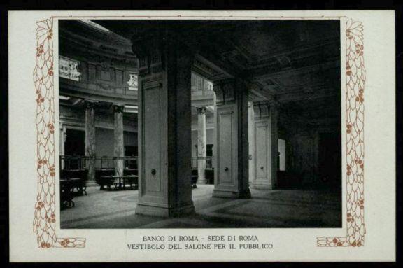 Banco di Roma sede di Roma, vestibolo del salone per il pubblico