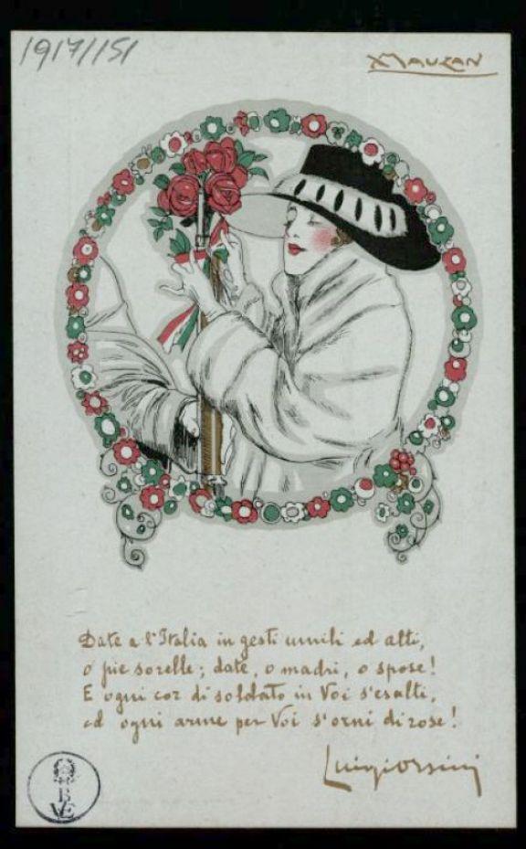 Date a l'Italia in gesti umili ed atti, o pie sorelle; date, o madri, o spose! E ogni cor di soldato in voi s'esalti, ed ogni arme per voi s'orni di rose!  / A. Mauzan