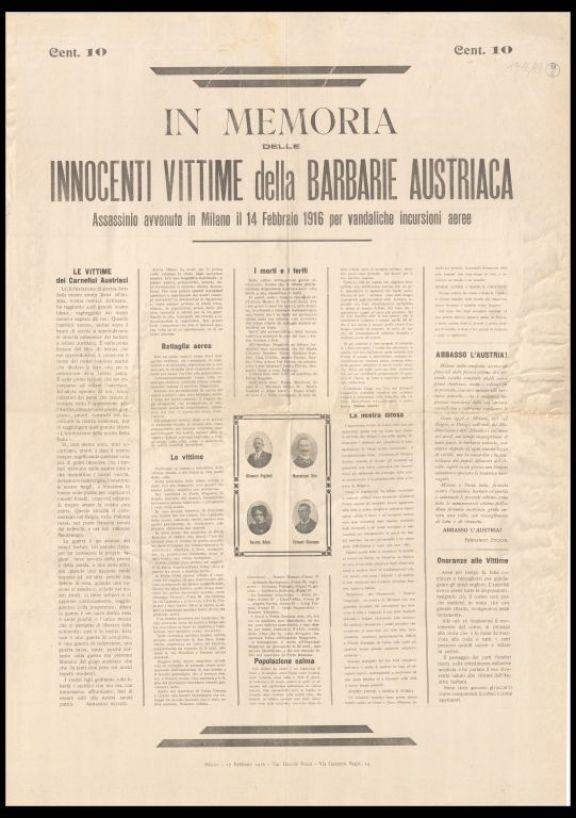 In memoria delle innocenti vittime della barbarie austriaca  : assassinio avvenuto in Milano il 14 febbraio 1916 per vandaliche incursioni aeree