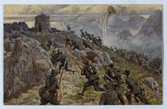 Alpini all'assalto con la protezione di Cristo