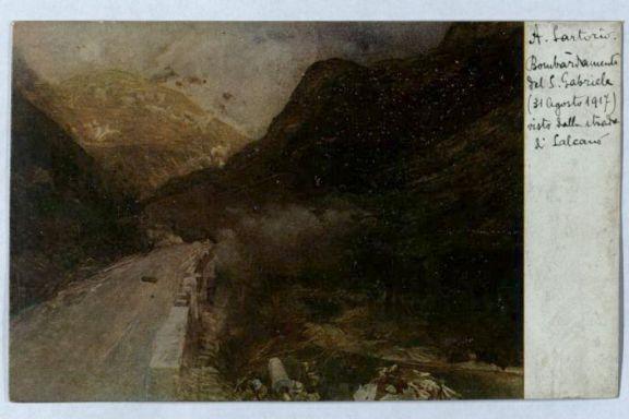 Bombardamento del S.Gabriele 31 agosto 1917 visto dalla strada di Salcano