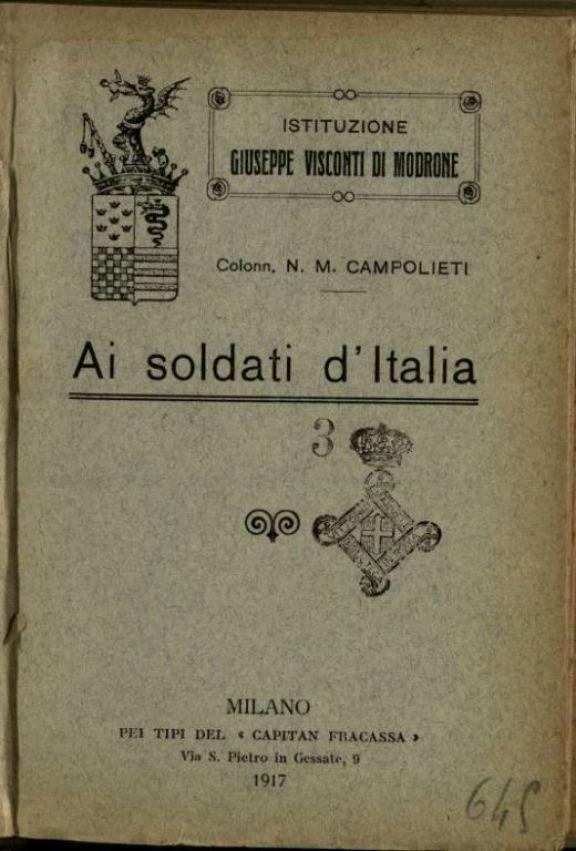 Ai soldati d'Italia  / N.M. Campolieti