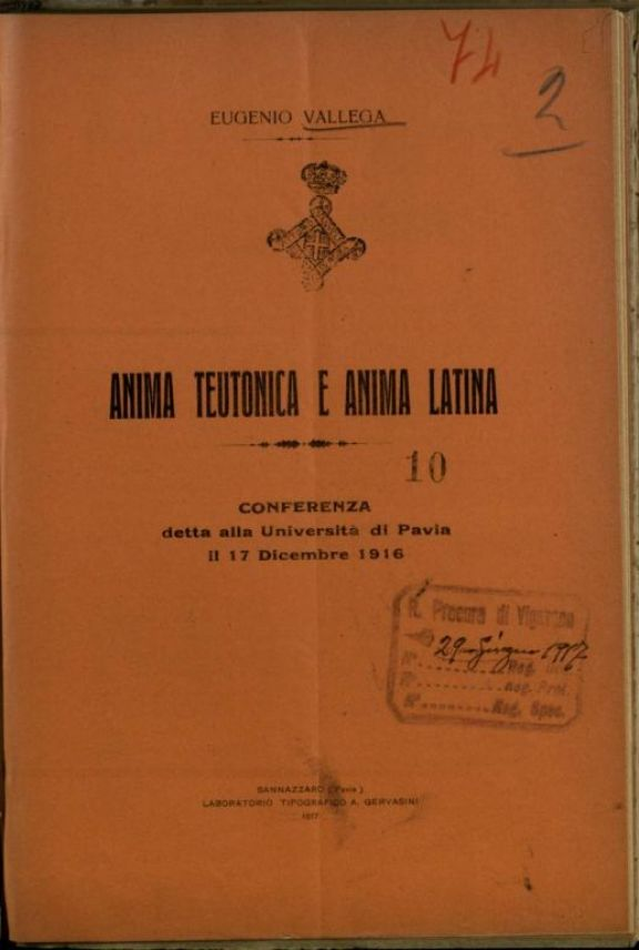 Anima teutonica e anima latina  : conferenza detta alla Universit