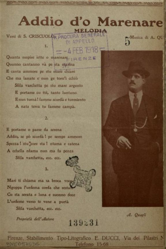 Addio d'o marenare  : melodia  / versi di S. Criscuolo  ; musica di A. Quagli