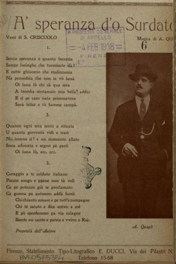 A' *speranza d'o surdato  / versi di S. Criscuolo  ; musica di A. Quagli