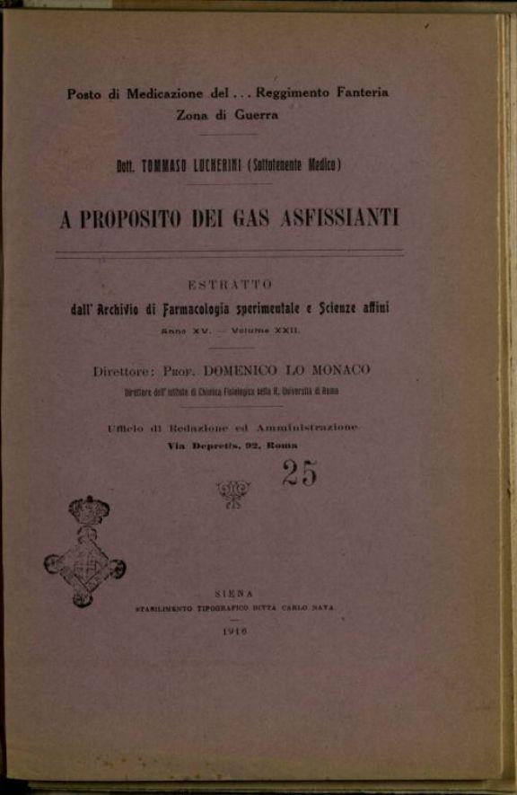 A proposito dei gas asfissianti  / Tommaso Lucherini