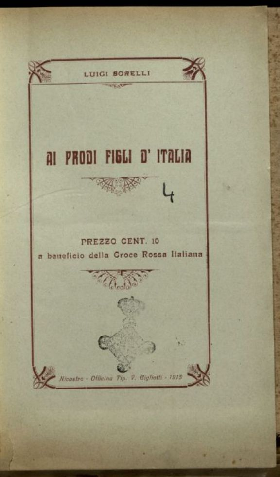 Ai prodi figli d'Italia  / Luigi Borelli