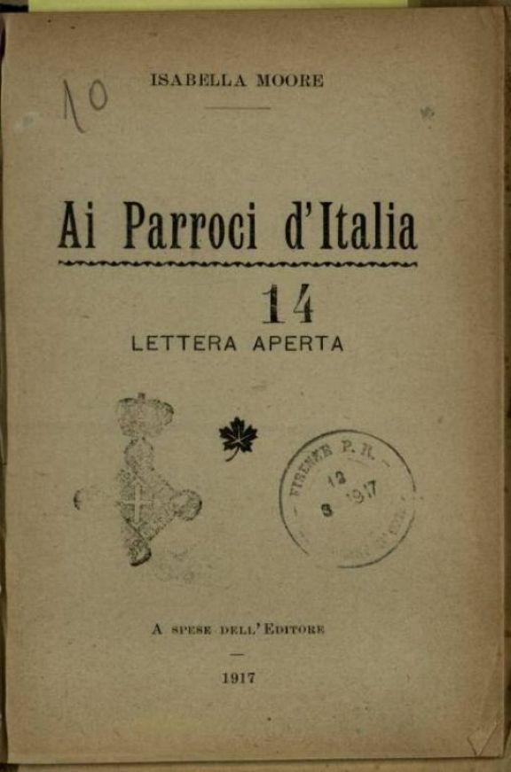 Ai parroci d'Italia  : Lettera aperta  / Isabella Moore