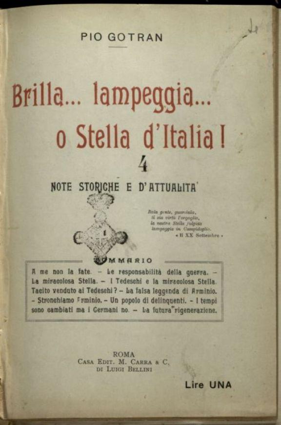 Brilla... lampeggia... o Stella d'Italia|  : note storiche e d'attualit