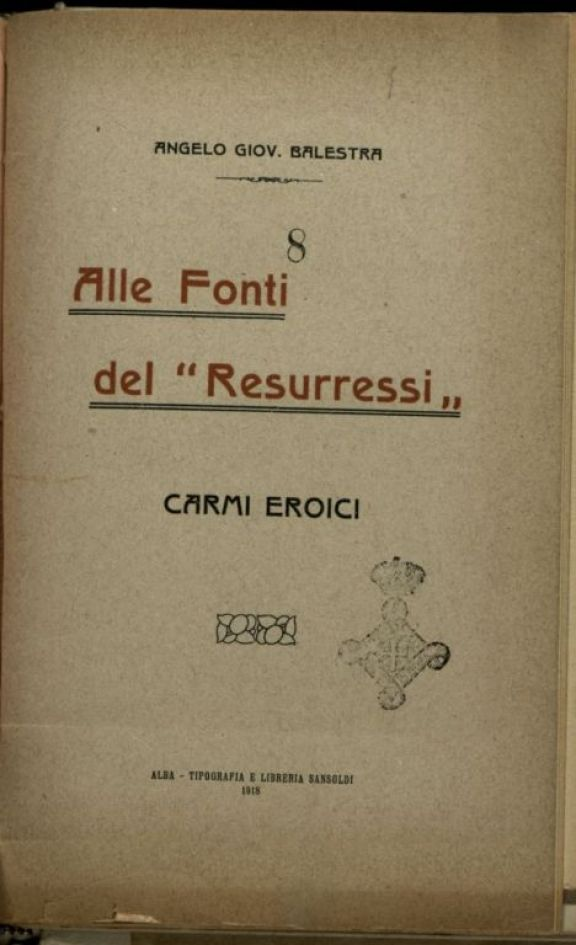 Alle fonti del resurressi  : Carmi eroici  / Angelo Giov. Balestra