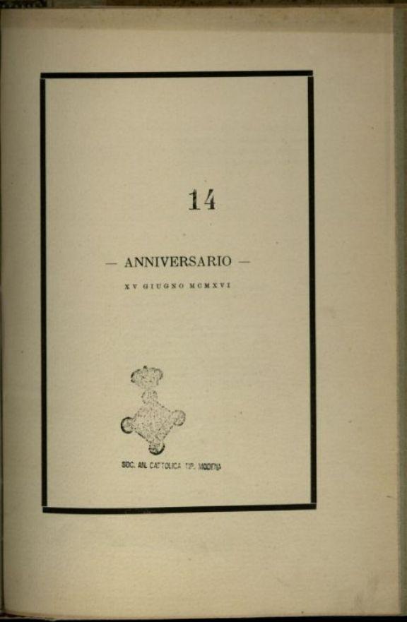 Anniversario  : 15. giugno 1916