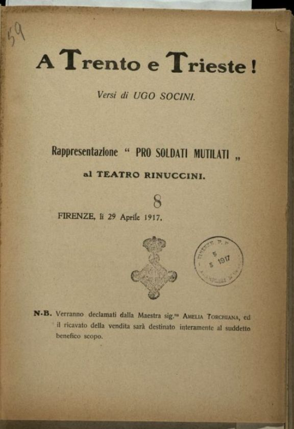 A Trento e Trieste!  / versi di Ugo Socini