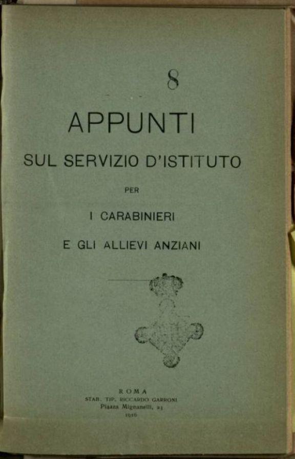 Appunti sul servizio d'Istituto per i carabinieri e gli allievi anziani