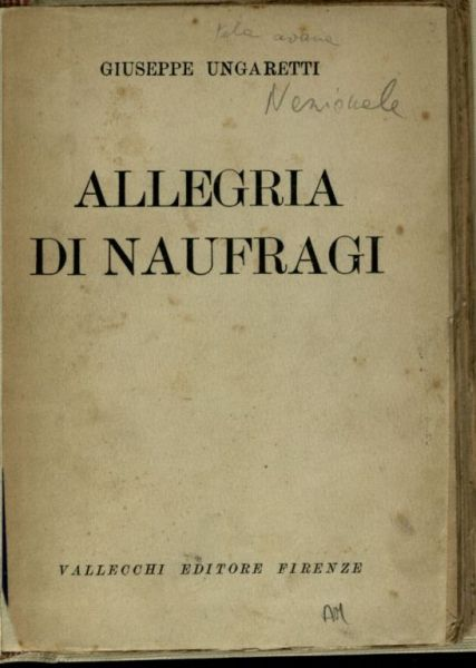 Giuseppe Ungaretti allegria di naufragi