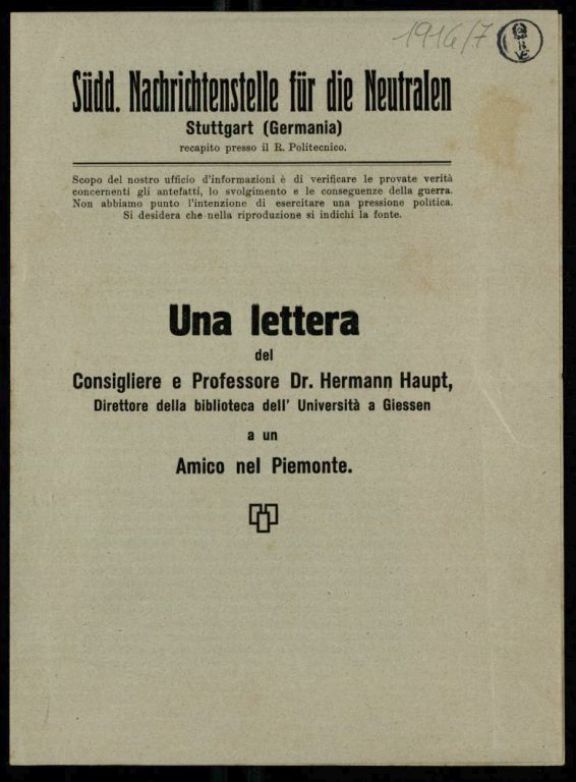 Una *lettera del consigliere e professore dr. Hermann Haupt, direttore della biblioteca dell'Univerist