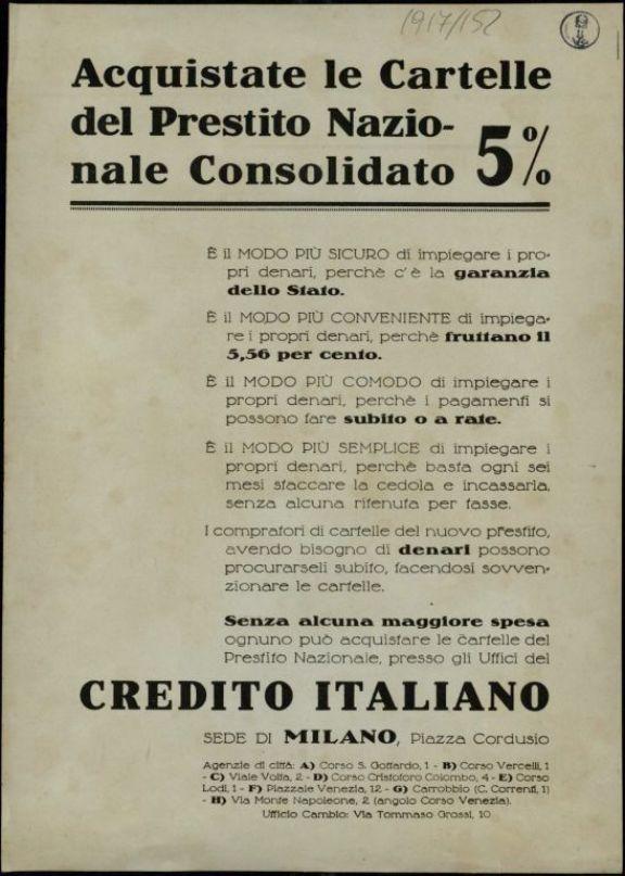Acquistate le cartelle del Prestitio Nazionale 5%  / [Credito Italiano]