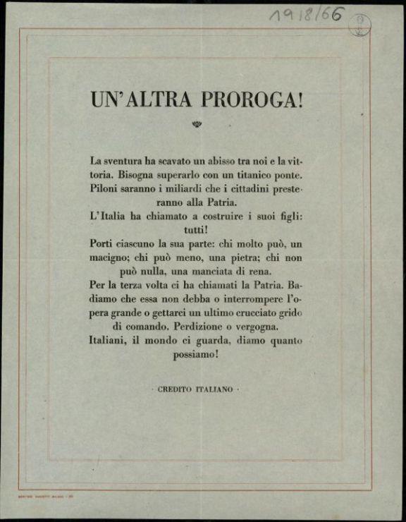 Un'*altra proroga!  / Credito Italiano