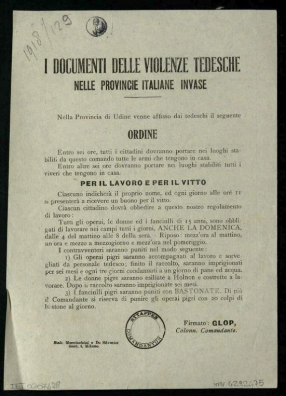 I *documenti delle violenze tedesche nelle provincie italiane invase