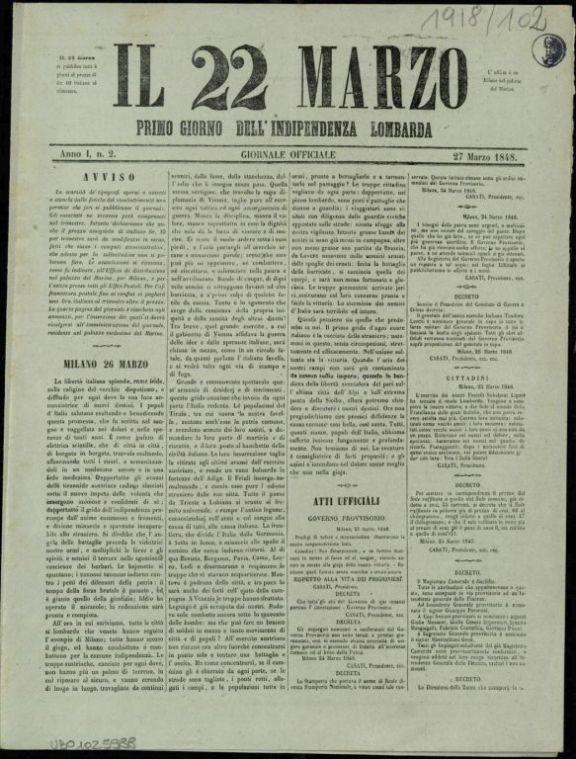 Il *22 marzo  : primo giorno dell'indipendenza lombarda  : giornale officiale  : Anno 1., n. 2, 27 marzo 1848