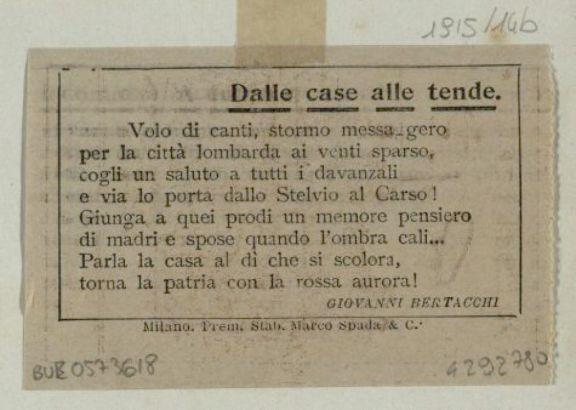 Dalle case alle tende  / Giovanni Bertacchi
