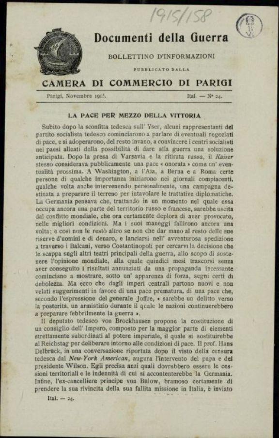 Documenti della guerra  : bollettino d'informazione pubblicato dalla camera di commercio di Parigi