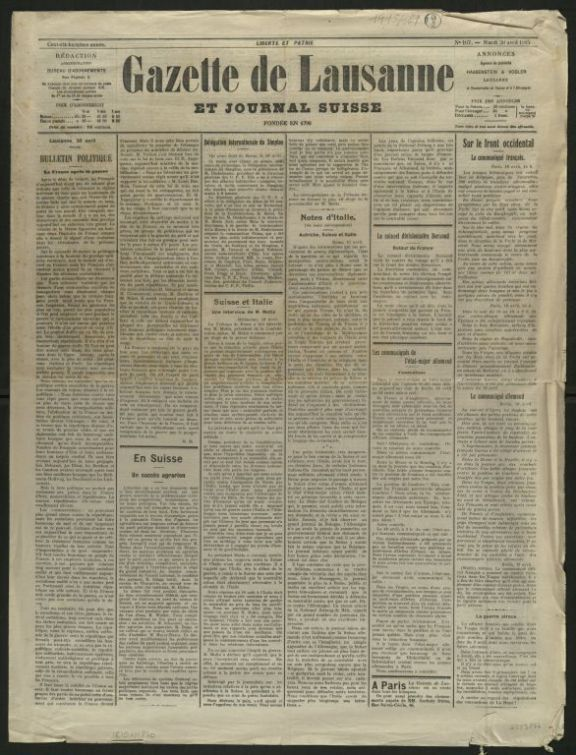 Gazette de Lausanne et journal suisse