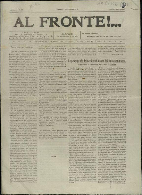 Al fronte!...  : giornale di propaganda politica