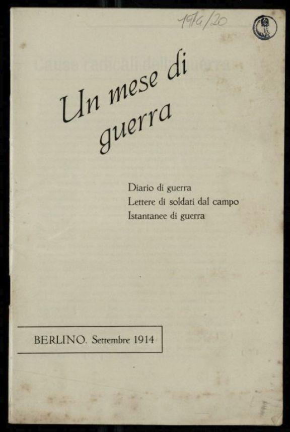 Un *mese di guerra  : diario di guerra, lettere di soldati dal campo, istantanee di guerra