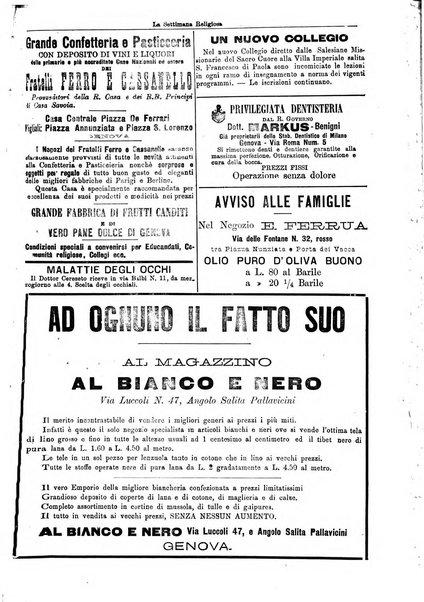 La settimana religiosa periodico religioso di Genova
