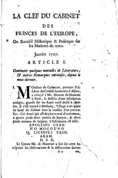 La clef du cabinet des princes de l'Europe ou recueil historique et politique sur les matières du tems