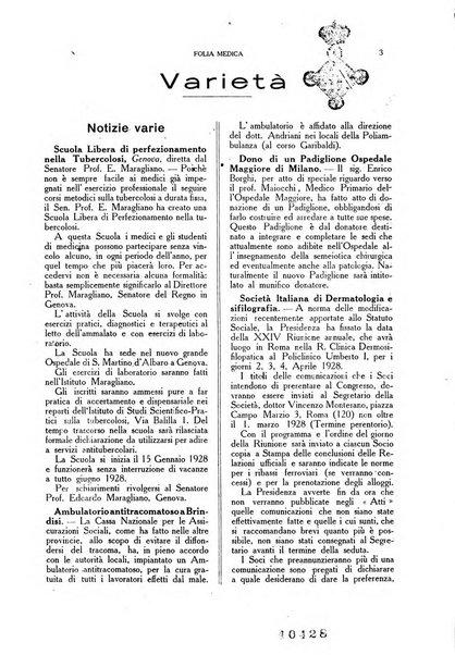 Folia medica periodico trimensile di patologia e clinica medica