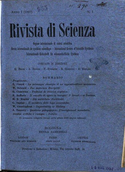Rivista di scienza organo internazionale di sintesi scientifica