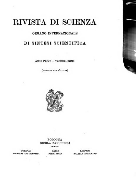 Rivista di scienza organo internazionale di sintesi scientifica